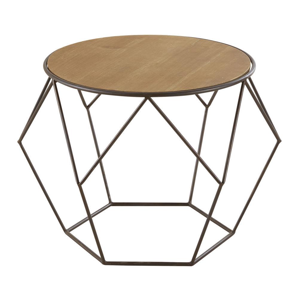 Table basse en métal et épicéa