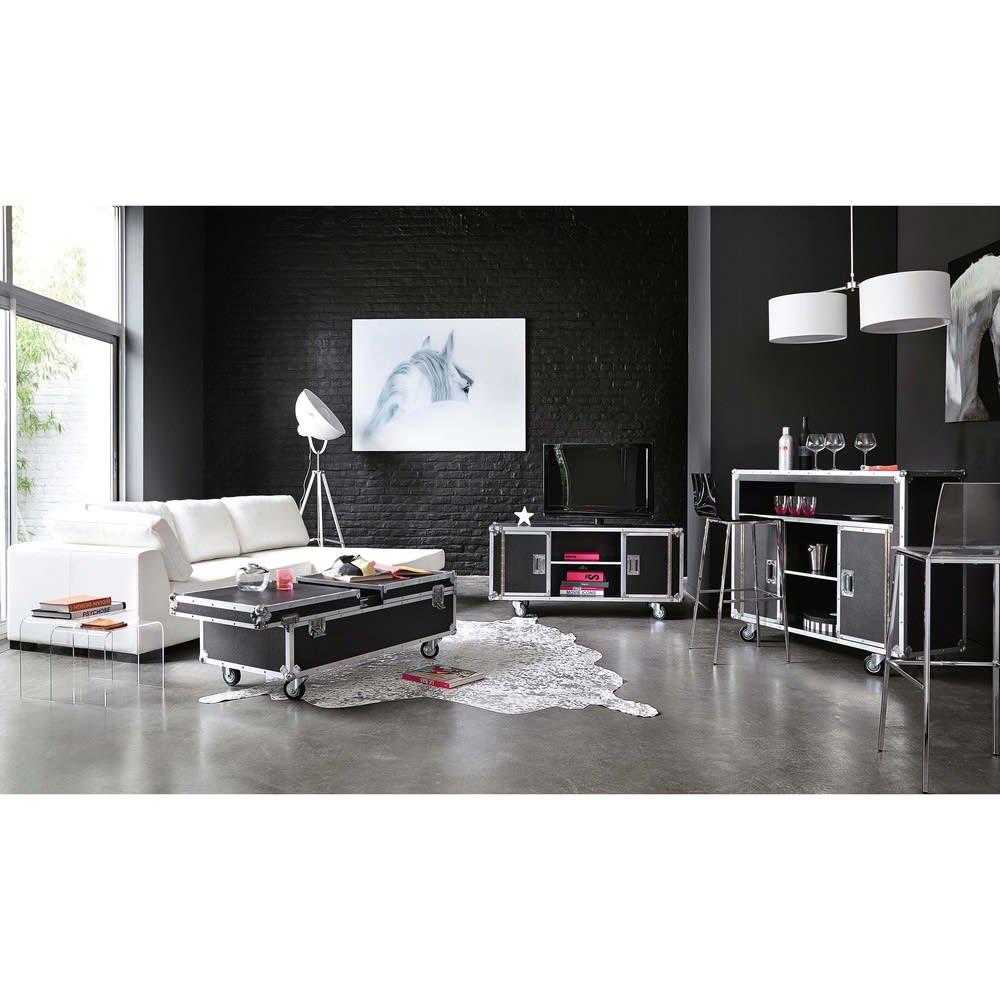2c28dabfdc23 Mesa baja negra de madera con ruedas An. 120 cm Cinema | Maisons du ...
