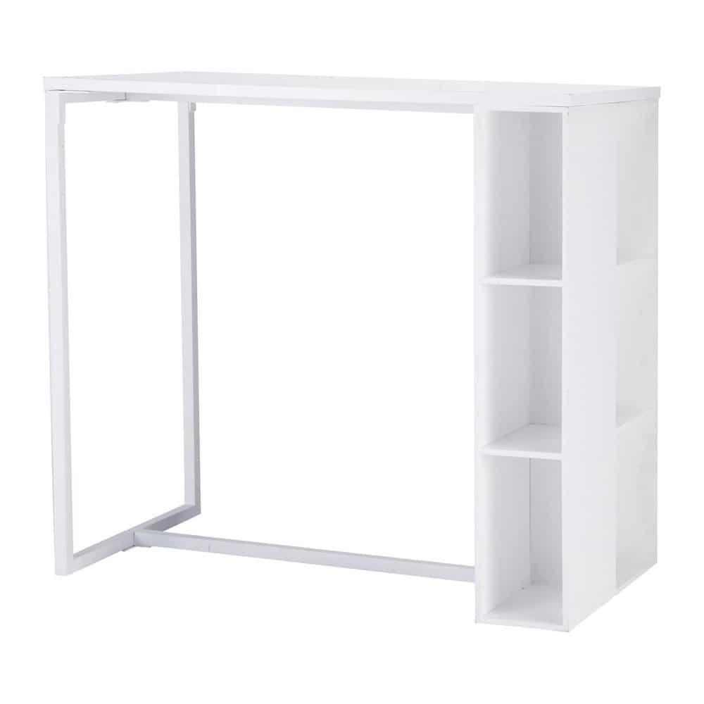 Mesa de comedor alta de madera blanca satinada an 120 cm for Comedor de muebles de madera blanca