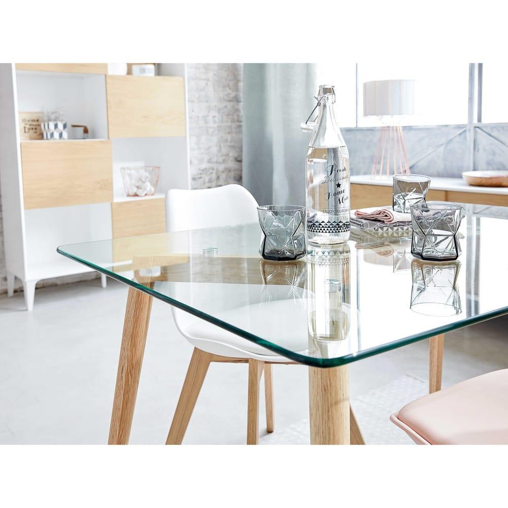 Mesa de comedor de cristal y roble L. 120 Mirage | Maisons du Monde