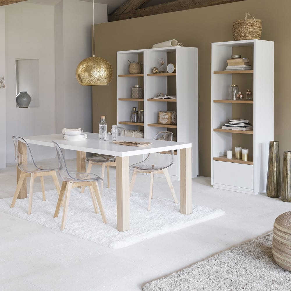 Mesa de comedor de madera blanca An. 200 cm Austral   Maisons du Monde