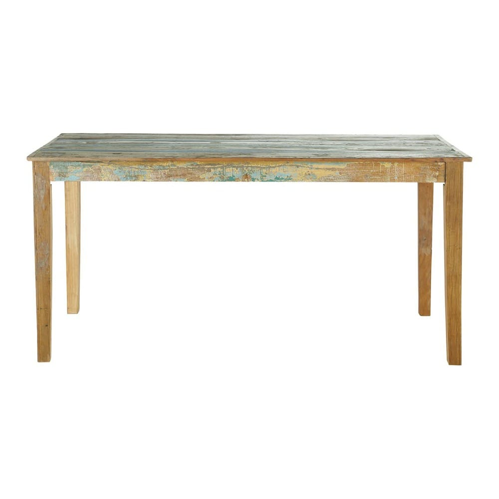 Mesa de comedor de madera reciclada efecto envejecido An. 160 cm ...