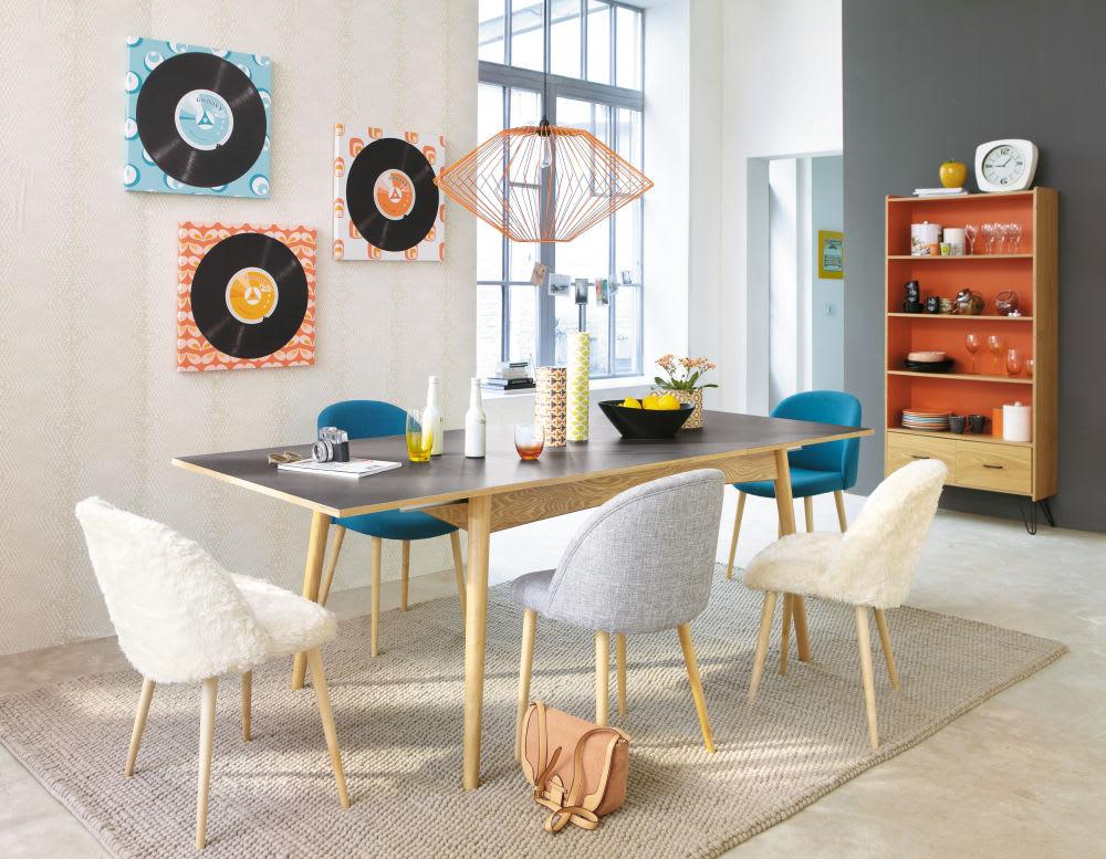 Mesa de comedor extensible de 6 a 10 personas gris for Mesa comedor extensible gris