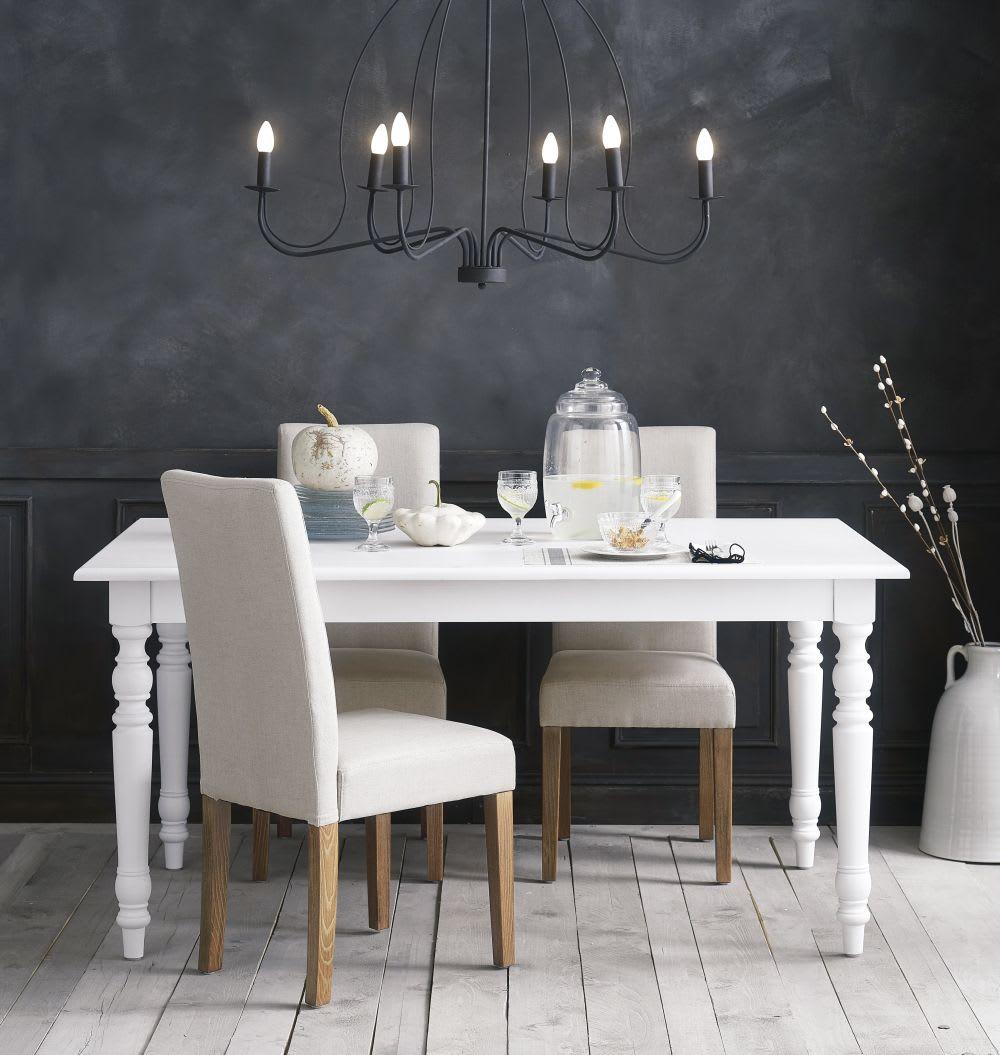 Mesa de comedor extensible de 6 a 8 personas blanca An. 160/200 cm ...