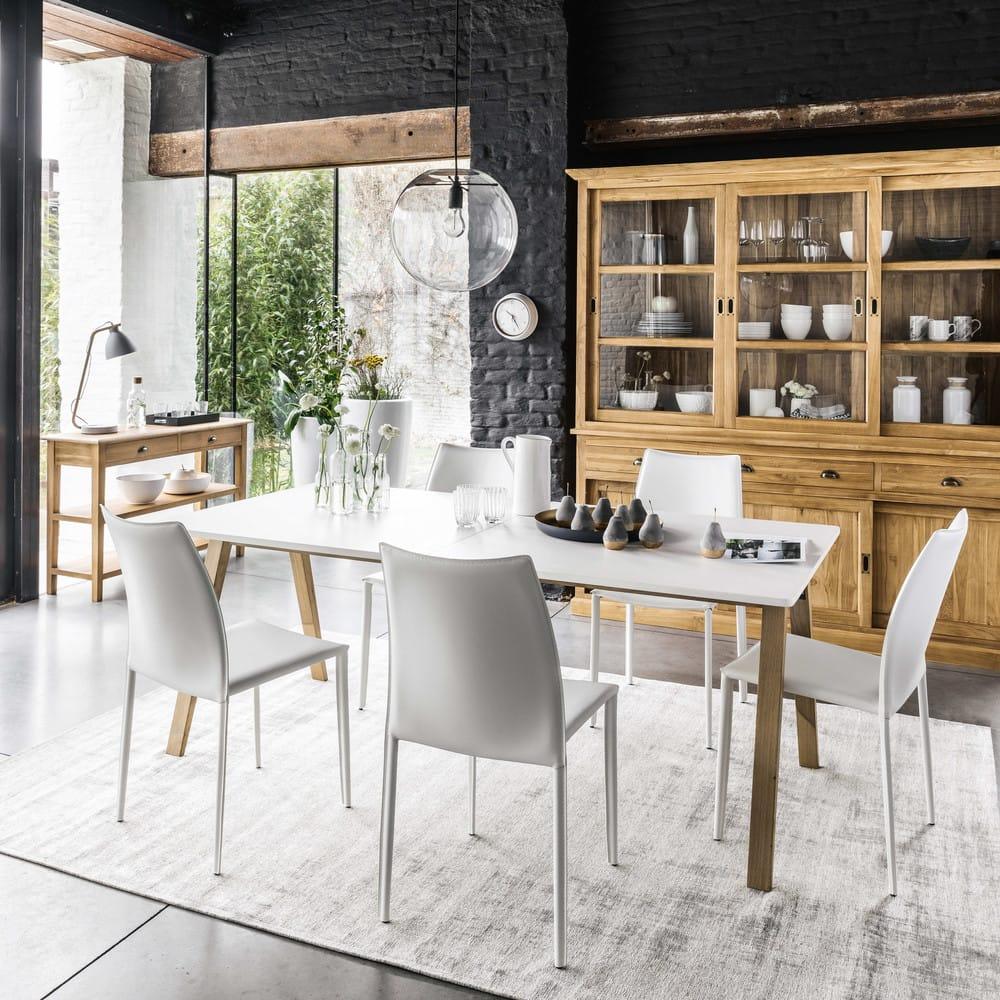 Mesa de comedor extensible de 8 a 10 personas blanca An. 200/245 cm ...