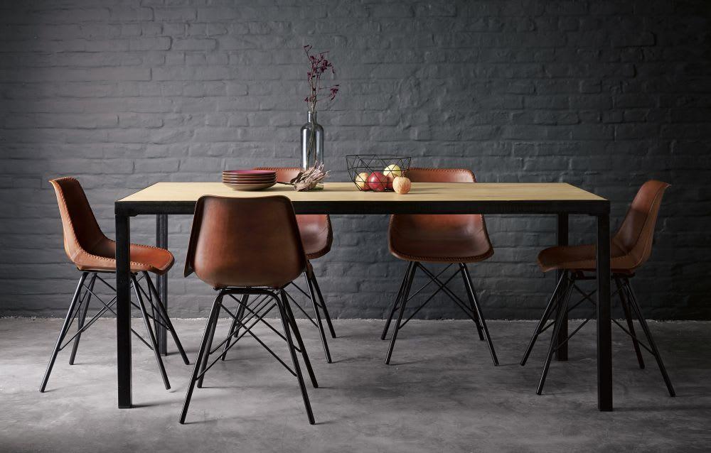 Mesa de comedor industrial para 8 personas de mango macizo An.180 ...