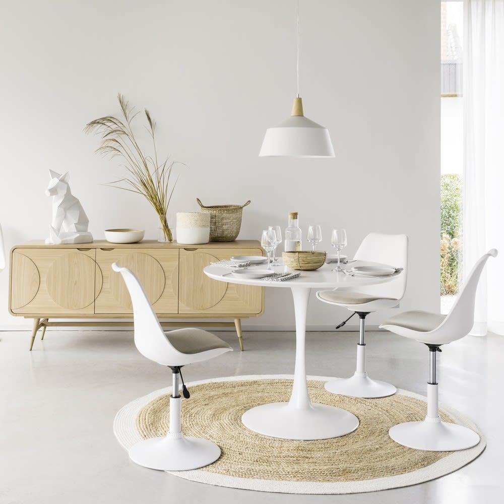 Mesa de comedor redonda blanca D. 100 cm Circle | Maisons du Monde