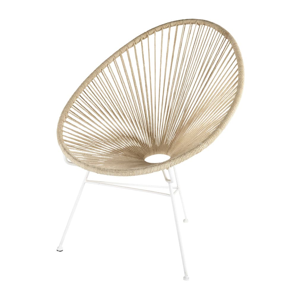 Metal and cotton rope armchair in white Copacabana | Maisons du Monde