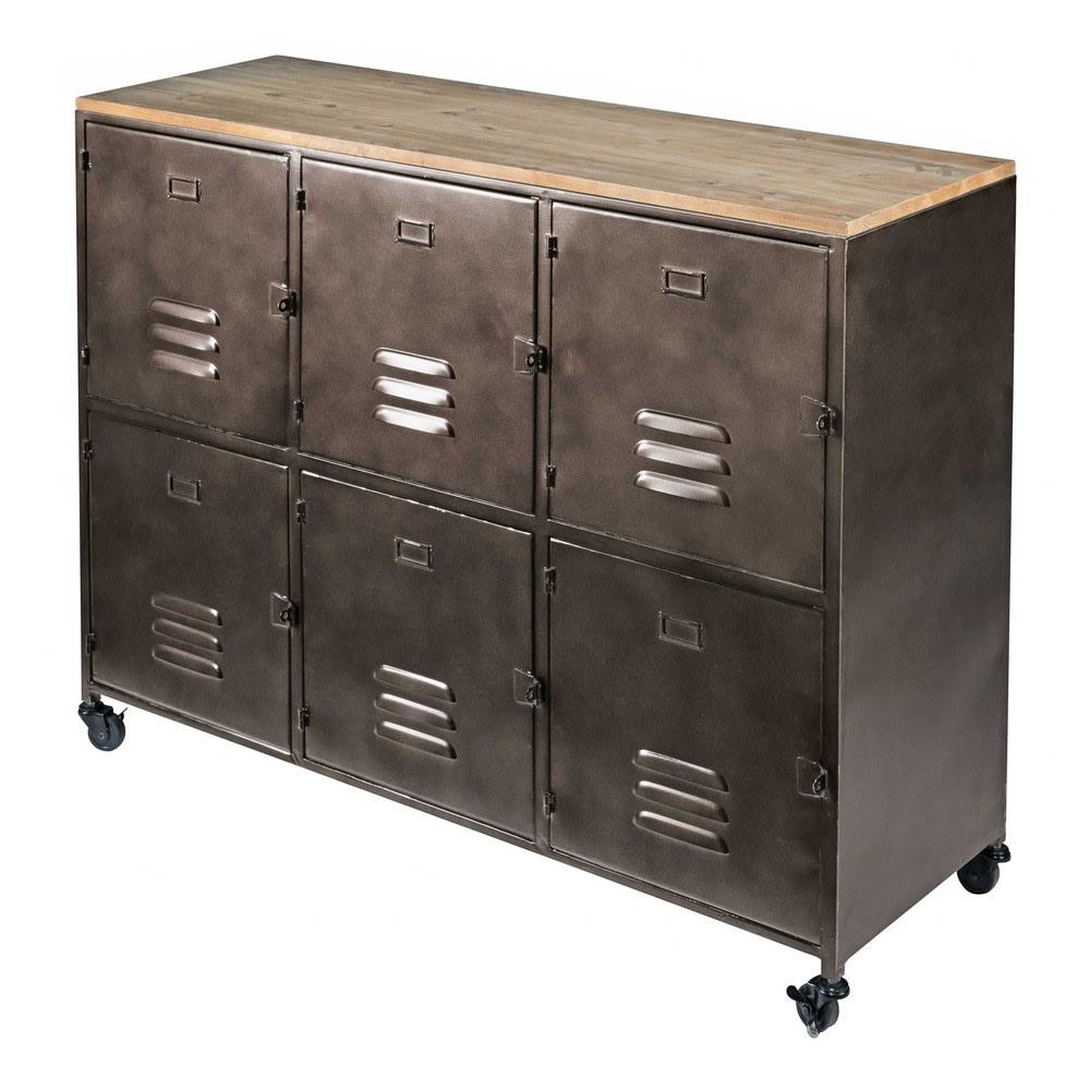 metal and pine 6 door wheeled sideboard wayne maisons du. Black Bedroom Furniture Sets. Home Design Ideas
