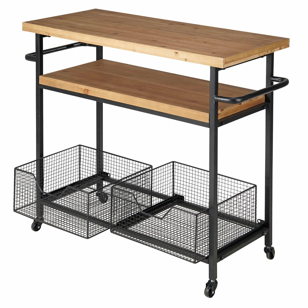 Industrial Kitchen Trolley: Metal And Wood Industrial Kitchen Trolley Bessie