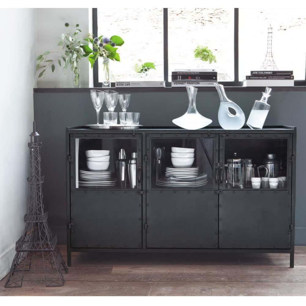 Metal Industrial Glazed Sideboard In Black W 130cm Edison Maisons