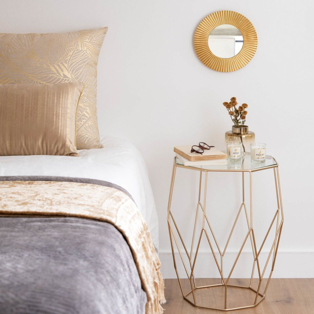 Wire Nightstand | Metal Wire And Glass Side Table Jaya Maisons Du Monde