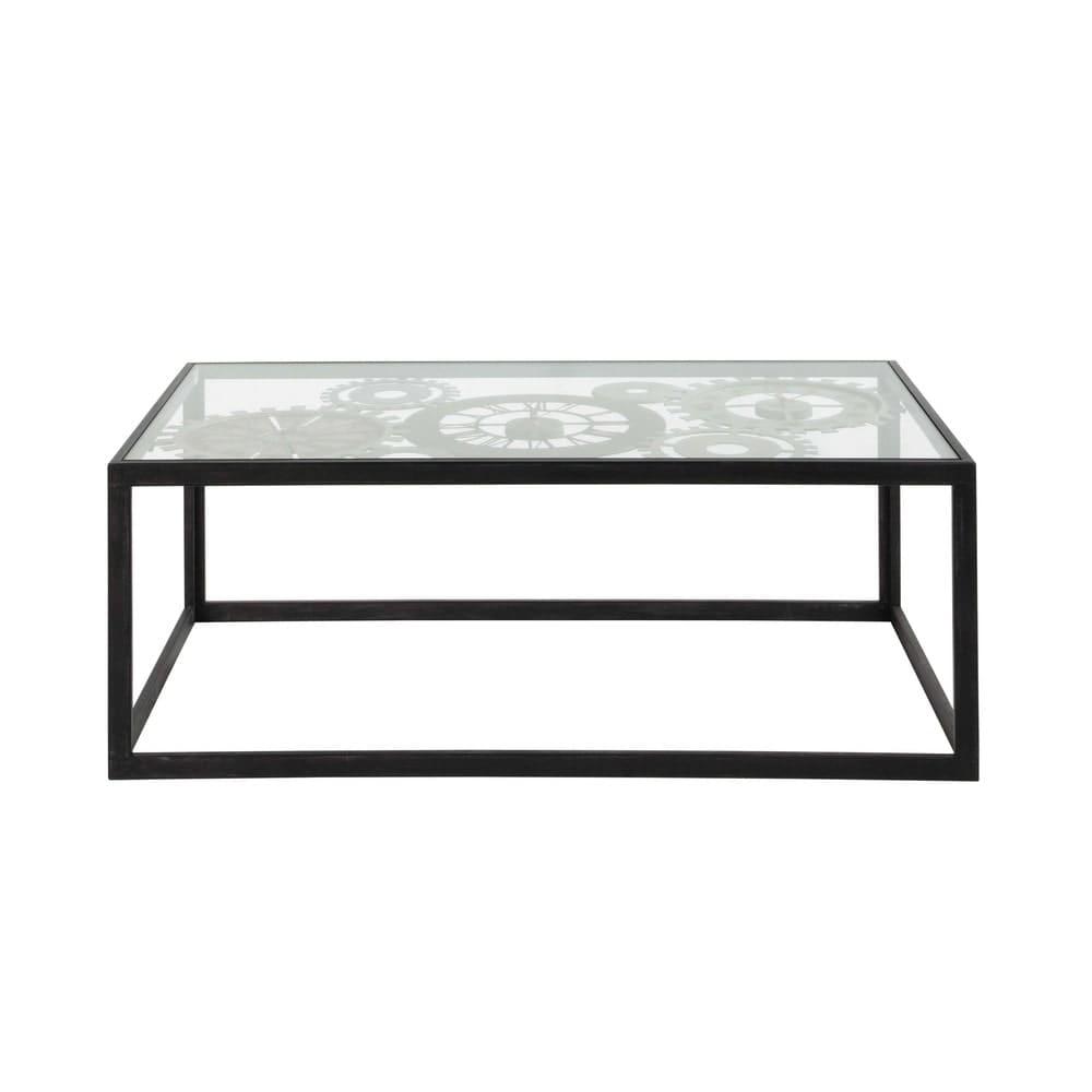 Glazen Salon Tafel.Metalen En Gehard Glazen Salontafel Met 3 Klokken B110 Clocks
