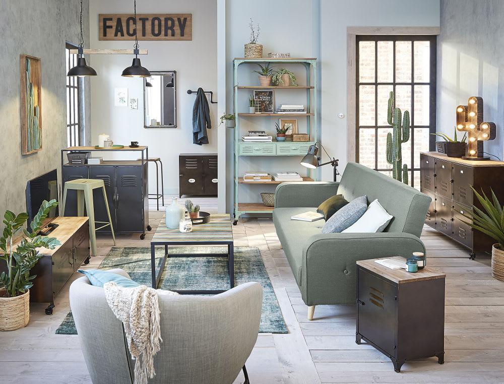 Metall barhocker im industriedesign hellgrün maisons du monde