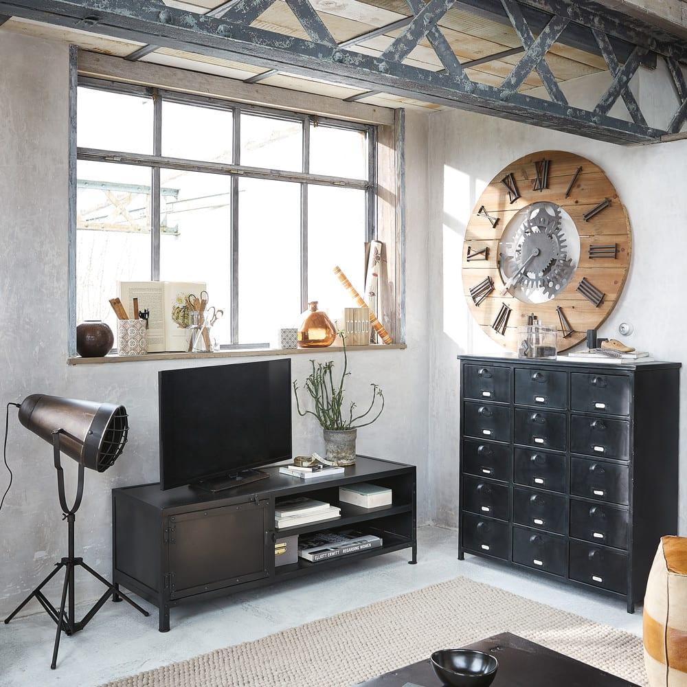 Metallkommode Im Industrial Stil B 88 Cm Schwarz Edison Maisons