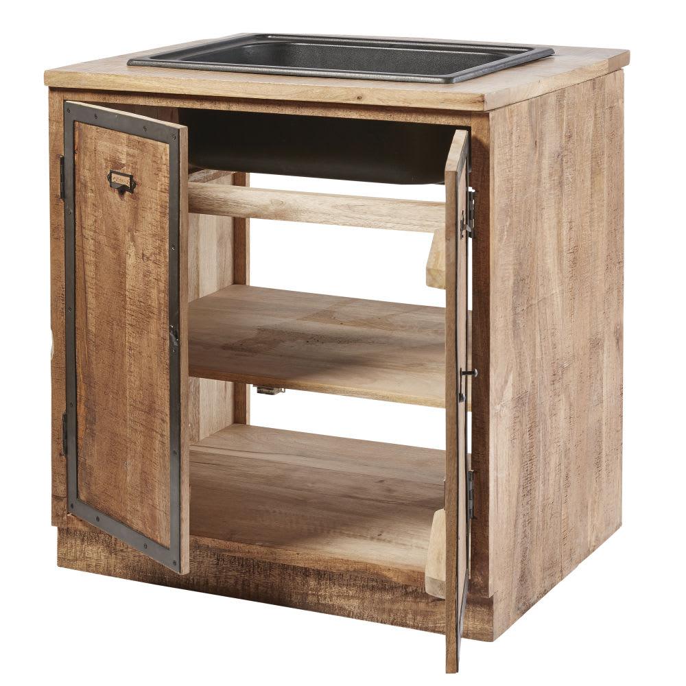 meuble bas de cuisine avec vier 2 portes en manguier. Black Bedroom Furniture Sets. Home Design Ideas