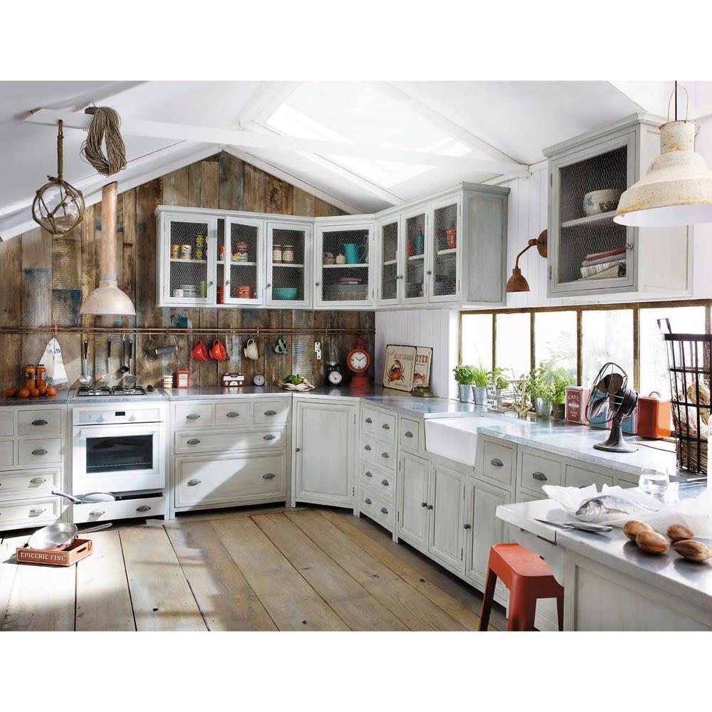 Meuble bas de cuisine avec vier en bois d 39 acacia gris l 120 cm zinc maisons du monde - Meuble bas de cuisine 120 cm ...