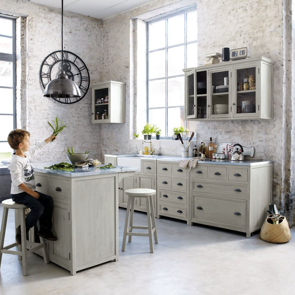 meuble bas de cuisine avec vier en bois d 39 acacia gris l 120 cm zinc maisons du monde. Black Bedroom Furniture Sets. Home Design Ideas