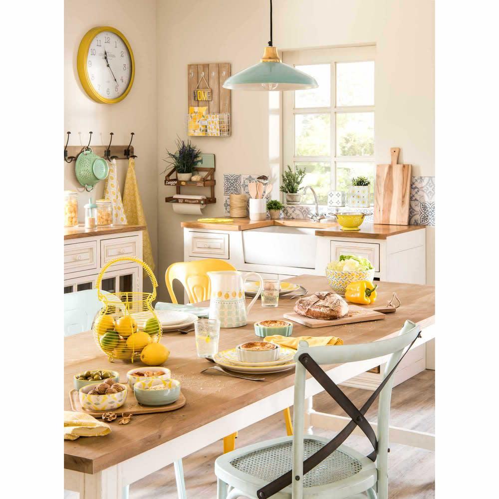 meuble bas de cuisine avec vier en manguier ivoire eleonore maisons du monde. Black Bedroom Furniture Sets. Home Design Ideas
