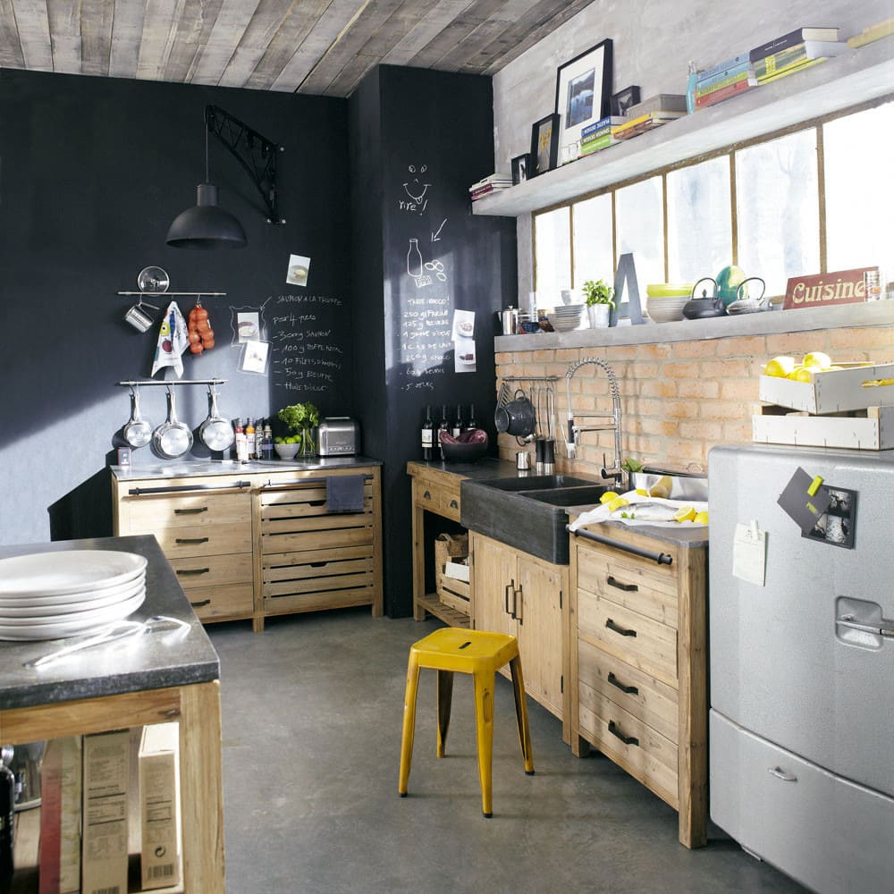 meuble bas de cuisine avec vier en pin recycl l90 pagnol maisons du monde. Black Bedroom Furniture Sets. Home Design Ideas