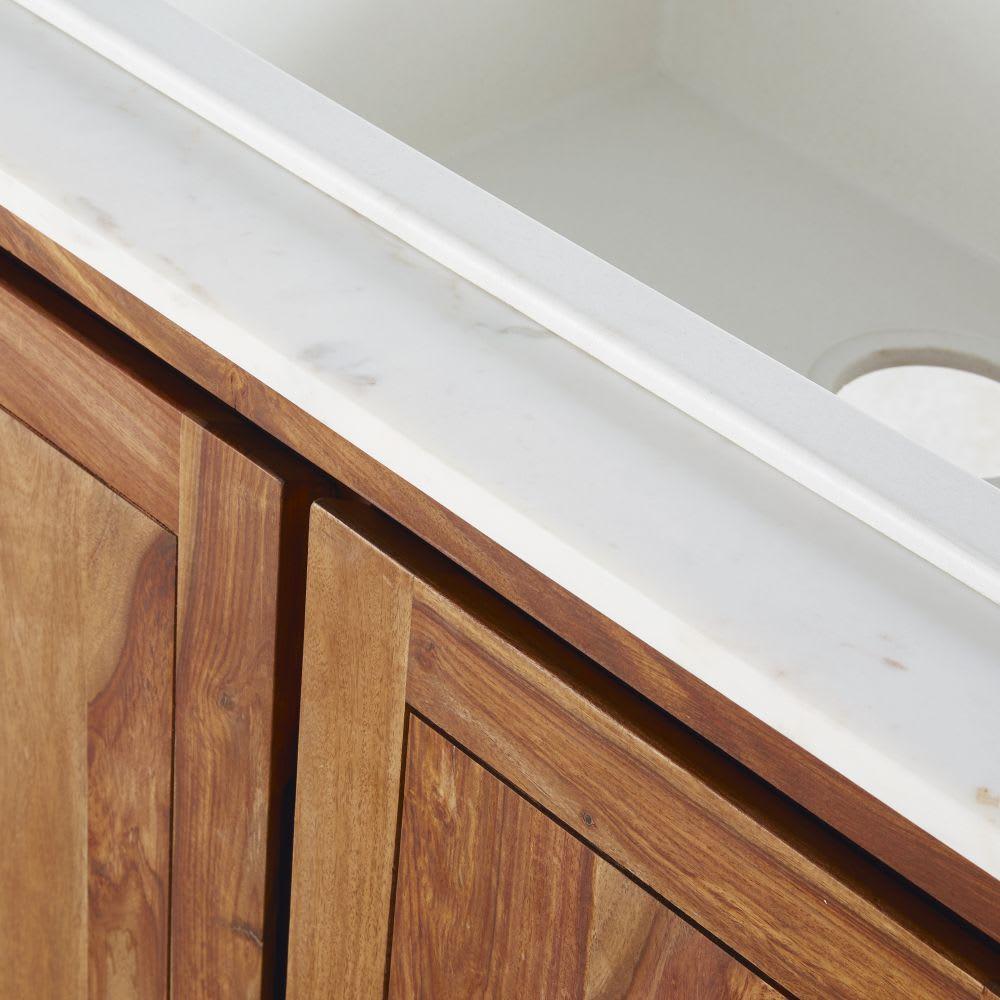 Meuble bas de cuisine avec évier en sheesham massif et marbre ...