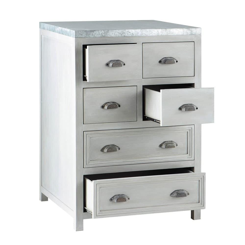 meuble bas de cuisine en bois d 39 acacia gris l 60 cm zinc maisons du monde. Black Bedroom Furniture Sets. Home Design Ideas