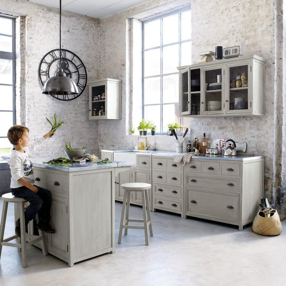 meuble bas de cuisine en bois d 39 acacia gris l 90 cm zinc maisons du monde. Black Bedroom Furniture Sets. Home Design Ideas