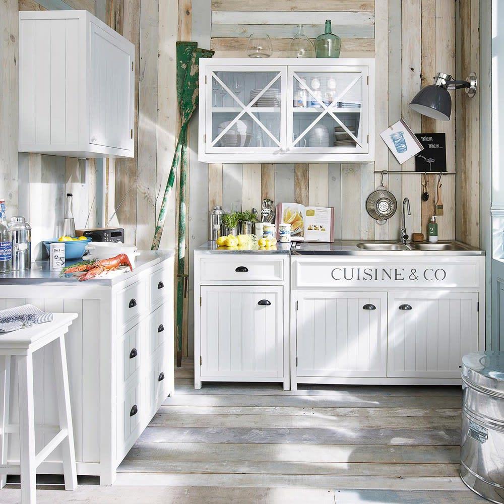 Meuble bas de cuisine en pin blanc L90 Newport | Maisons du Monde