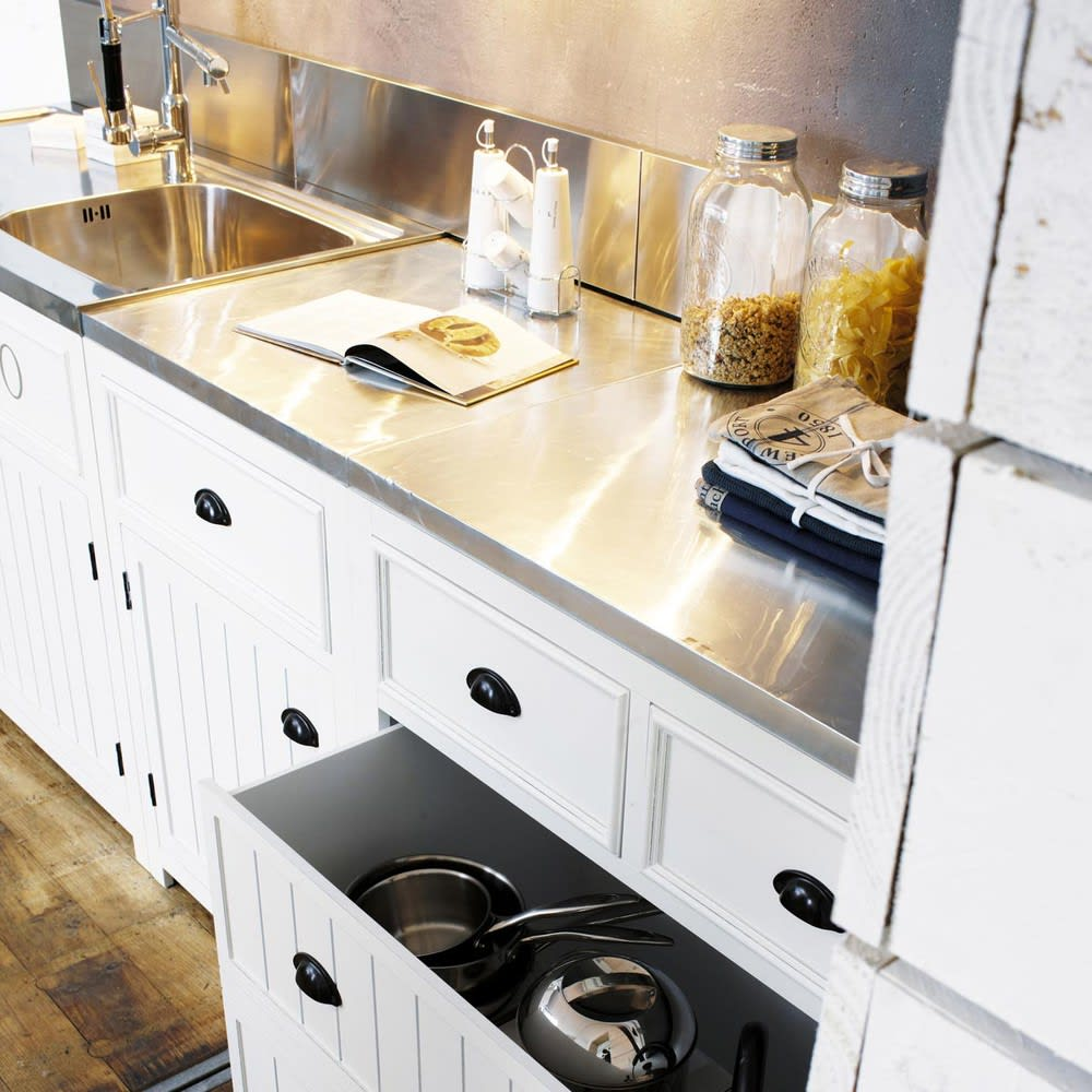 Meuble bas de cuisine en pin blanc l90 newport maisons - Meuble cuisine pin ...