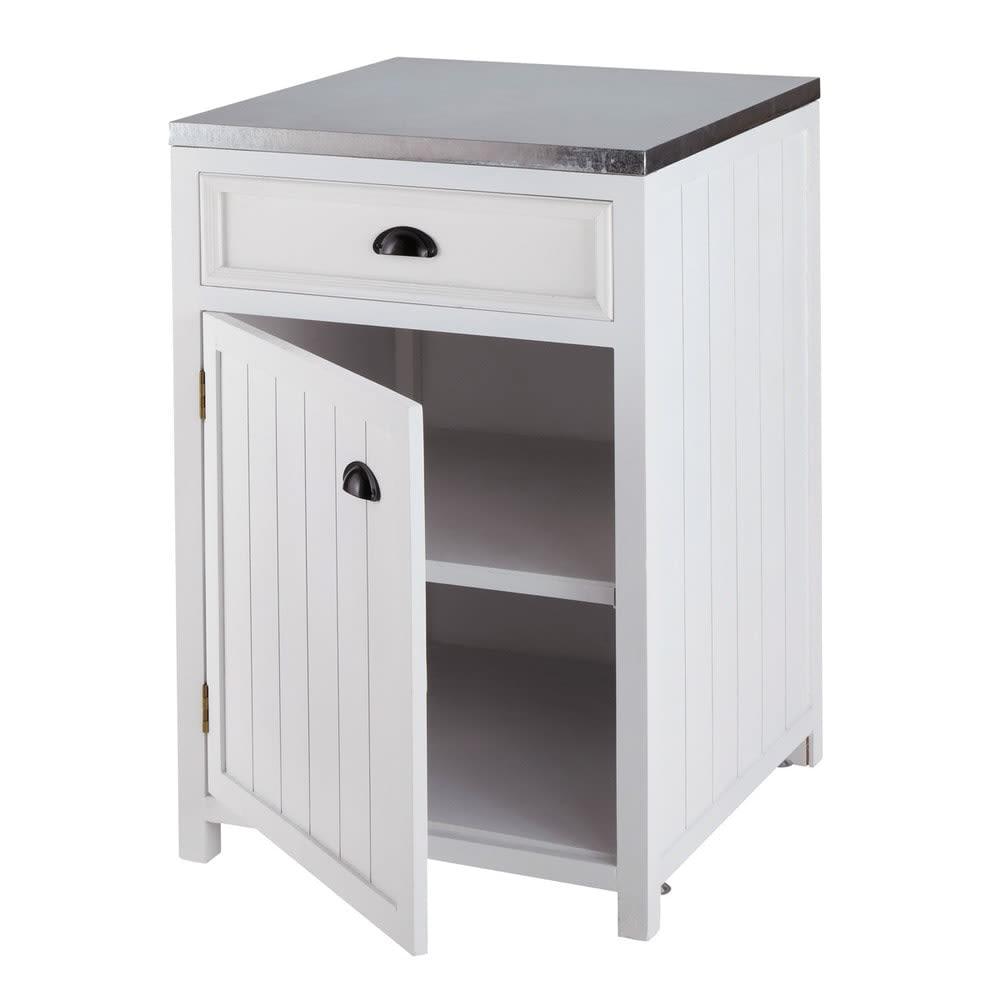 meuble bas de cuisine ouverture droite en pin blanc l 60 cm newport maisons du monde. Black Bedroom Furniture Sets. Home Design Ideas