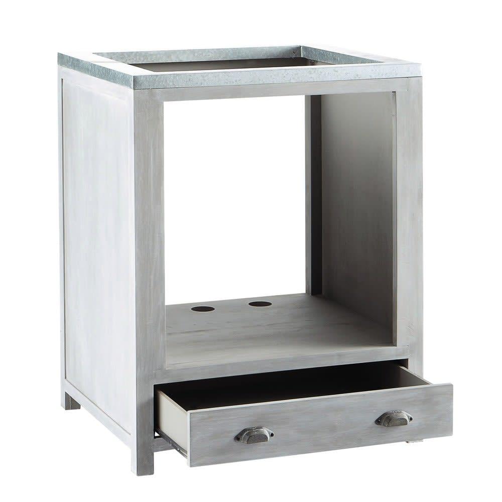 meuble bas de cuisine pour four en bois d 39 acacia gris l 70 cm zinc maisons du monde. Black Bedroom Furniture Sets. Home Design Ideas