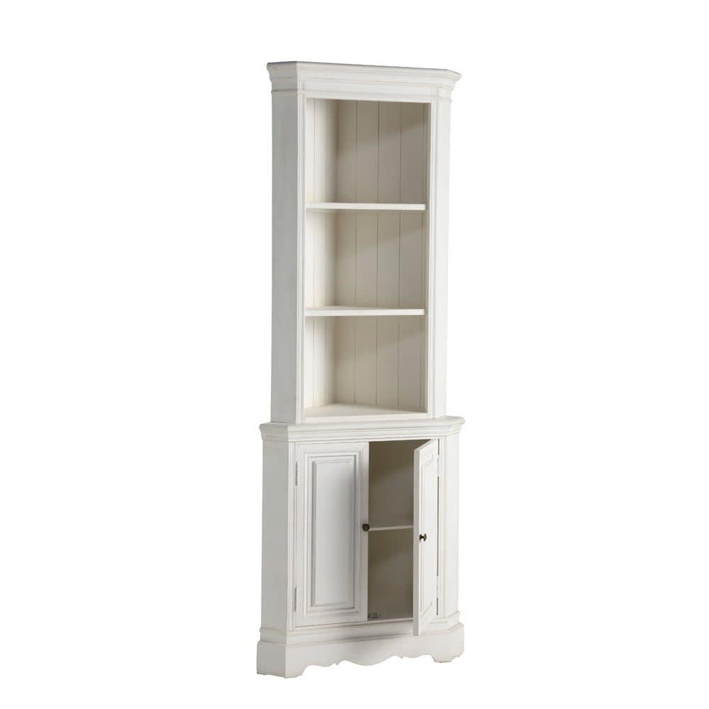meuble d 39 angle en bois de paulownia blanc l 73 cm jos phine maisons du monde. Black Bedroom Furniture Sets. Home Design Ideas