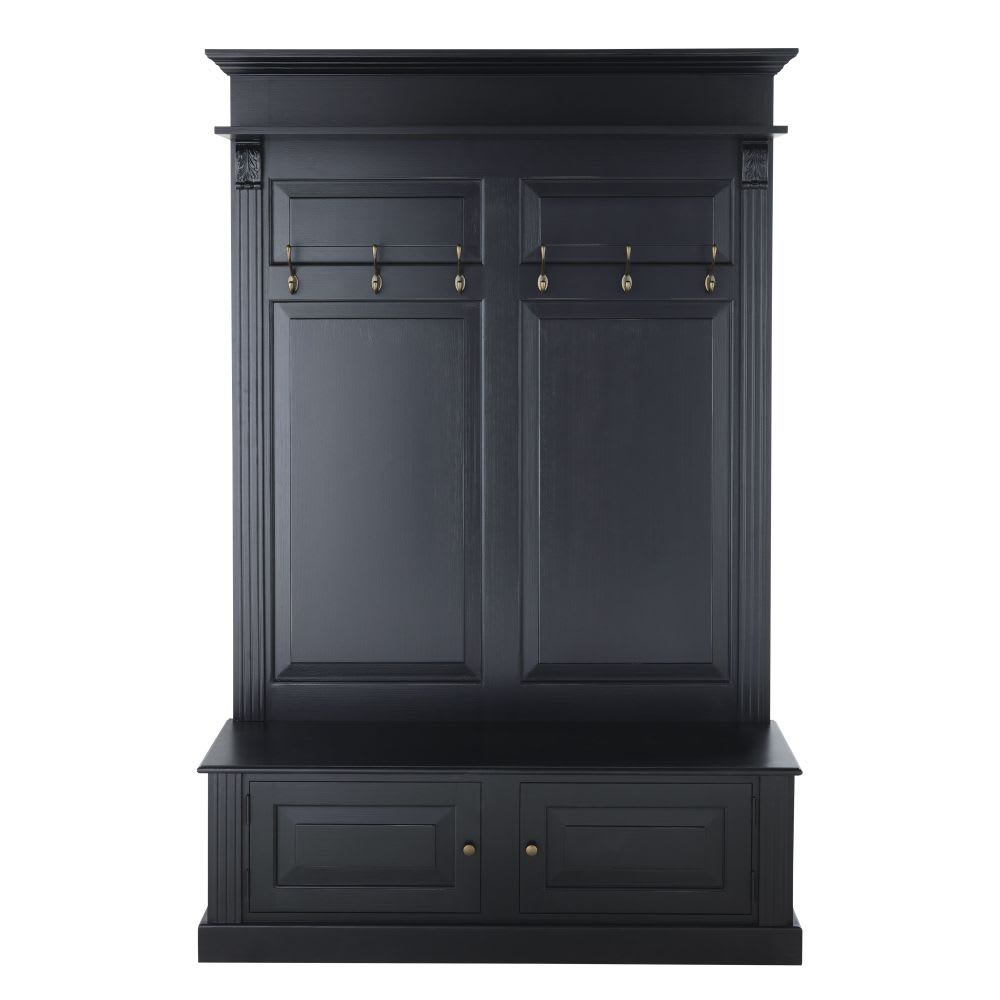 meuble d 39 entr e 2 portes noir cambronne maisons du monde. Black Bedroom Furniture Sets. Home Design Ideas