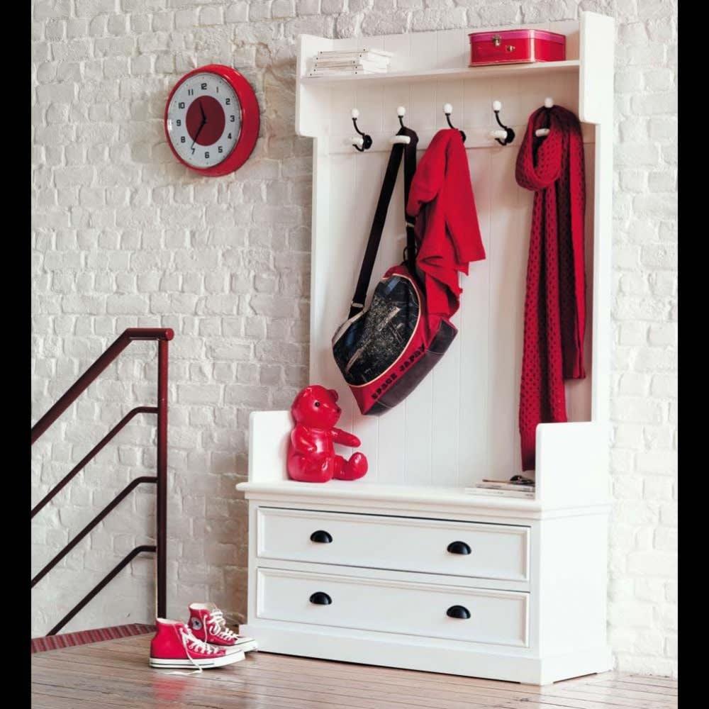 meuble d 39 entr e avec 5 pat res blanc l 110 cm newport. Black Bedroom Furniture Sets. Home Design Ideas