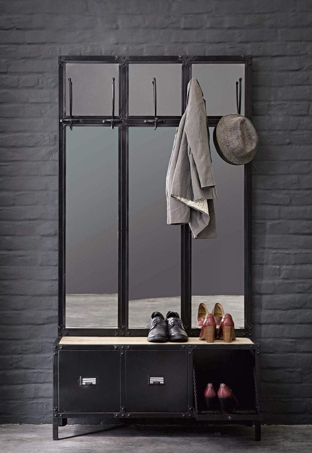 Meuble d 39 entr e avec miroir en m tal noir scott maisons - Miroir d entree ...