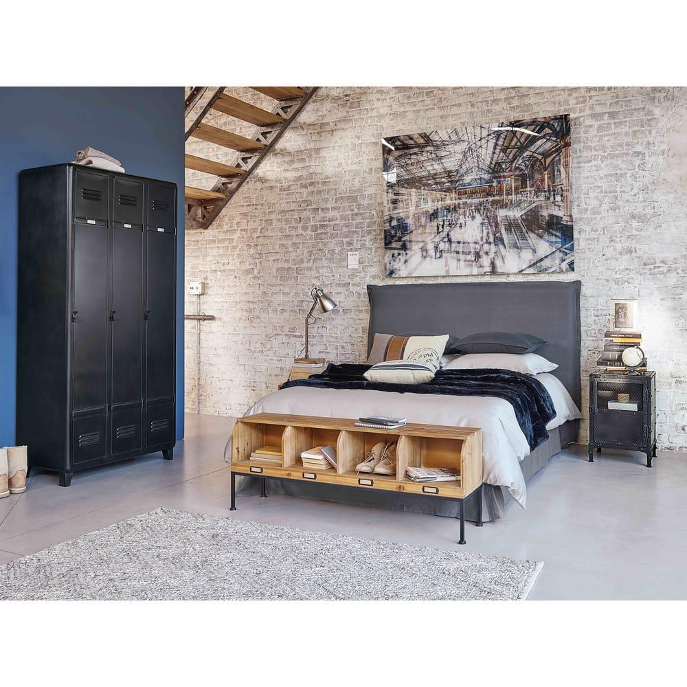 meuble d 39 entr e en sapin et m tal noir otis maisons du monde. Black Bedroom Furniture Sets. Home Design Ideas