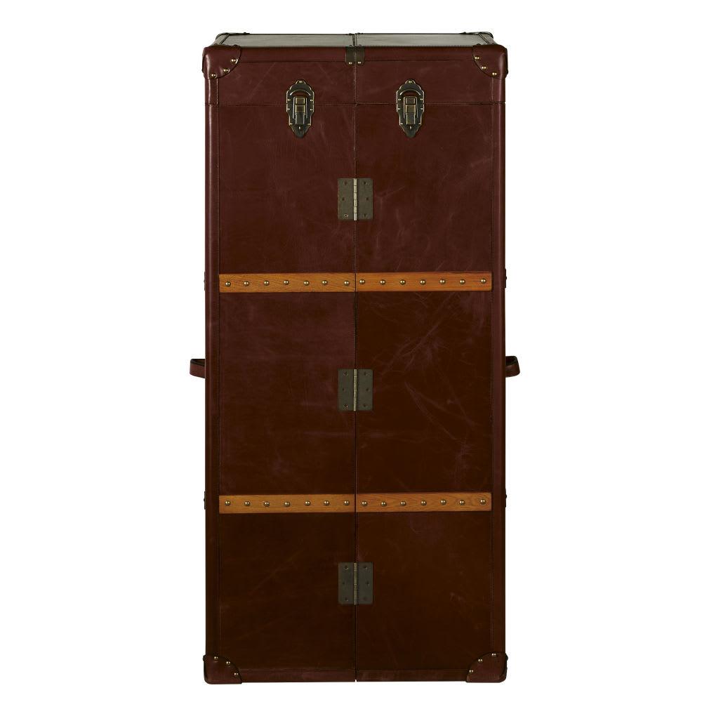meuble de bar avec tiroirs en cuir jules verne maisons. Black Bedroom Furniture Sets. Home Design Ideas