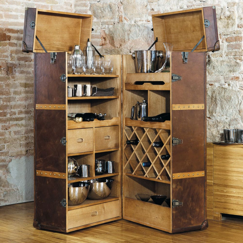 Meuble de bar avec tiroirs en cuir jules verne maisons du monde - Meuble de bar ...