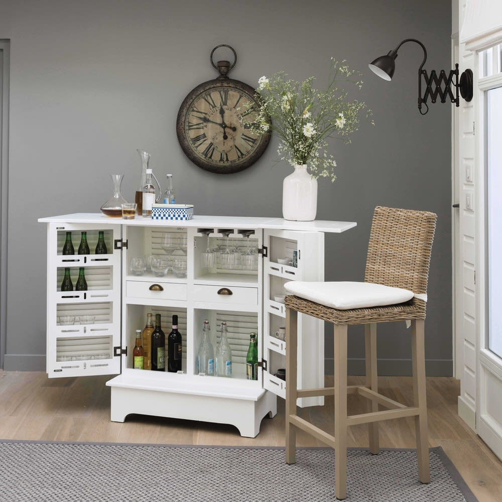 meuble de bar en bois blanc l 80 cm barbade maisons du monde. Black Bedroom Furniture Sets. Home Design Ideas