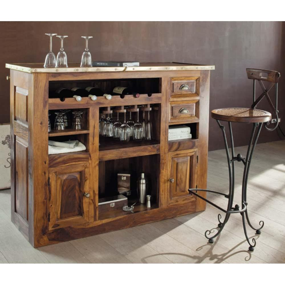 meuble de bar en bois de sheesham massif l 132 cm luberon. Black Bedroom Furniture Sets. Home Design Ideas