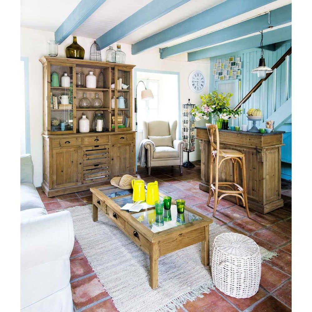 meuble de bar en pin recycl pagnol maisons du monde. Black Bedroom Furniture Sets. Home Design Ideas