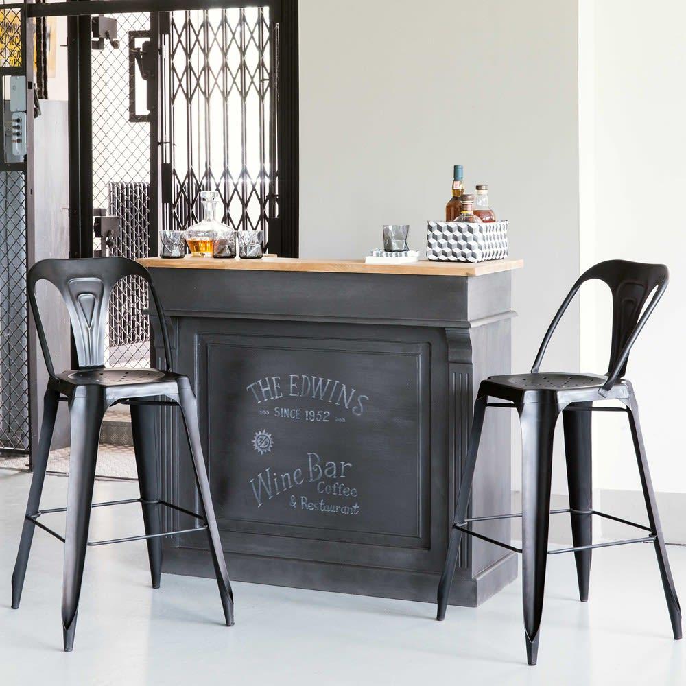 meuble de bar gris charbon germain maisons du monde. Black Bedroom Furniture Sets. Home Design Ideas