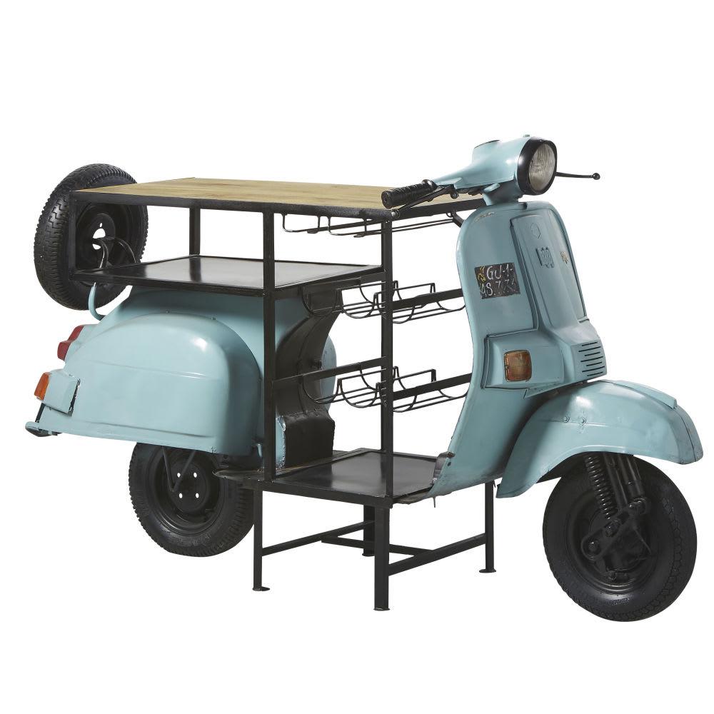 Meuble de bar scooter bleu en m tal et manguier scooter maisons du monde - Meuble de bar ...