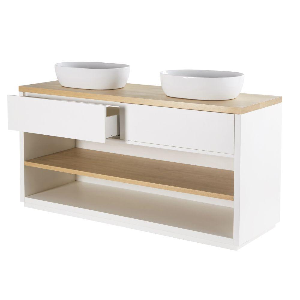 Meuble double vasque 2 tiroirs blanc austral maisons du - Meuble vasque blanc ...