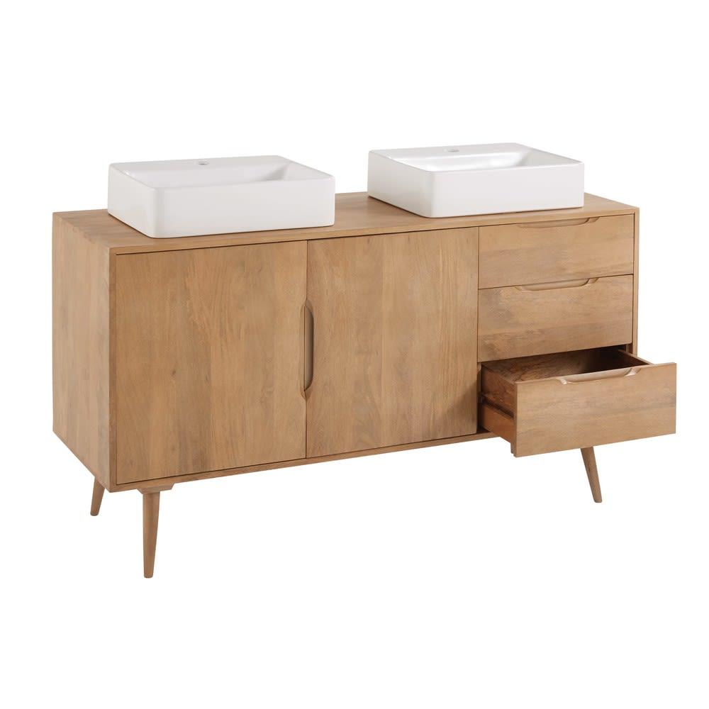 meuble double vasque 2 tiroirs en manguier massif trocadero maisons du monde. Black Bedroom Furniture Sets. Home Design Ideas