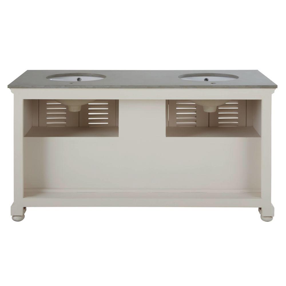 meuble double vasque en manguier blanc cass et pierre castille maisons du monde. Black Bedroom Furniture Sets. Home Design Ideas