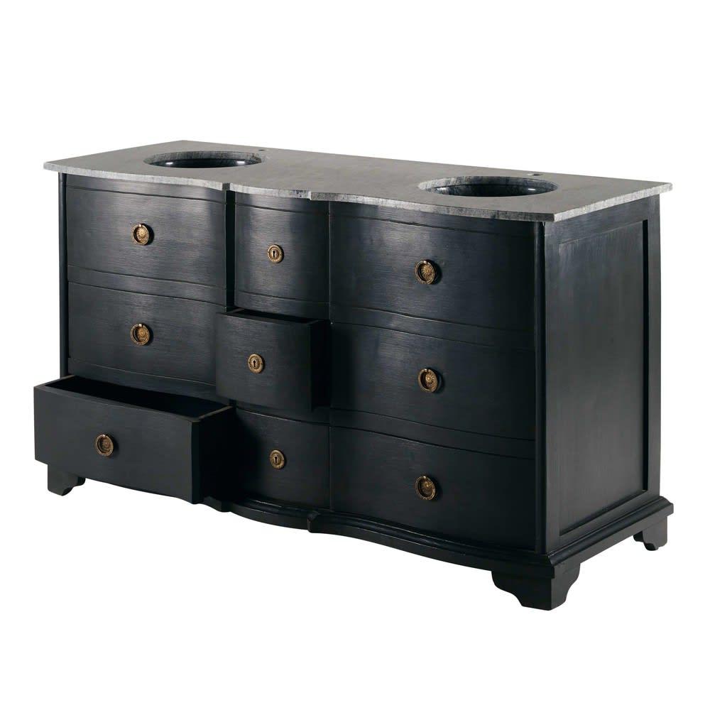 meuble double vasque en manguier noir et pierre eugenie. Black Bedroom Furniture Sets. Home Design Ideas