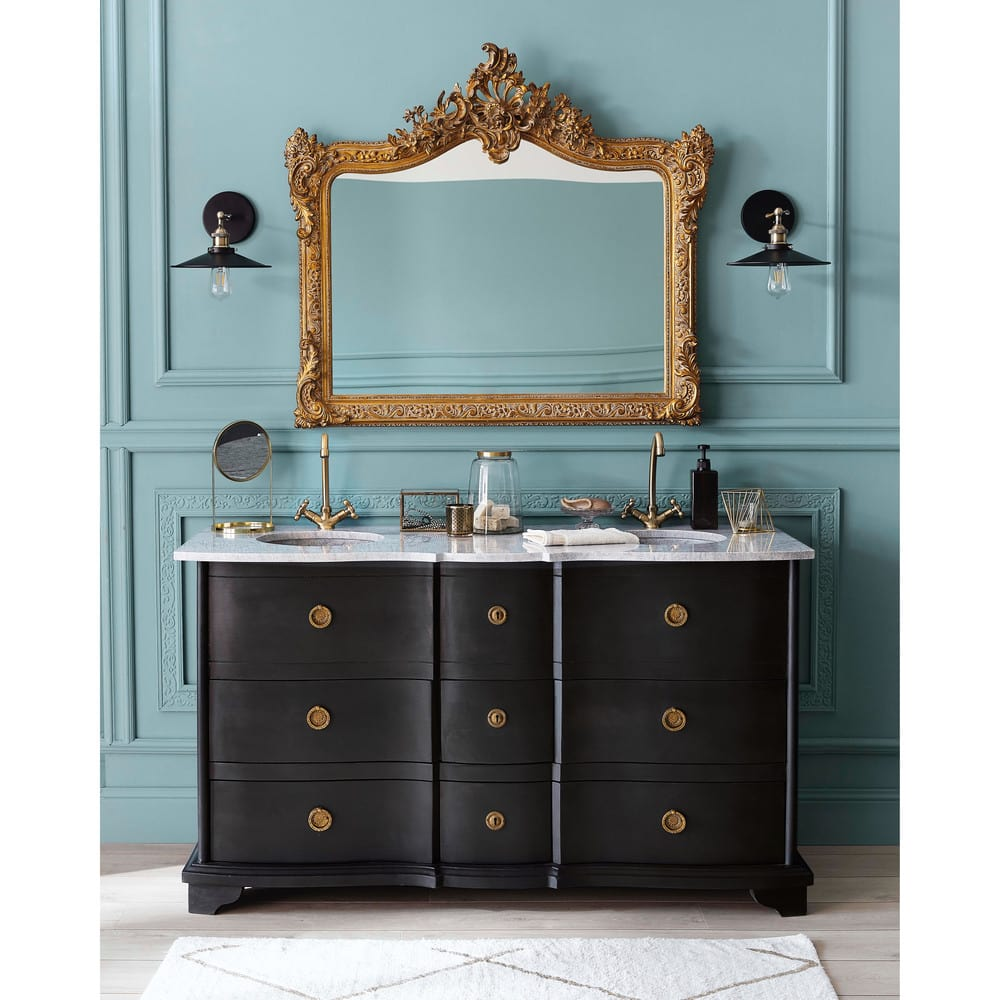 meuble double vasque en manguier noir et pierre eugenie maisons du monde. Black Bedroom Furniture Sets. Home Design Ideas
