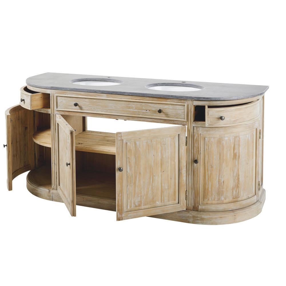 meuble double vasque en pin recycl et pierre bleue leonce. Black Bedroom Furniture Sets. Home Design Ideas