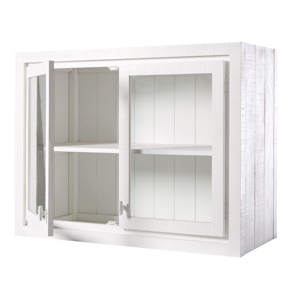 Meuble haut de cuisine 2 portes vitré blanc Embrun ...